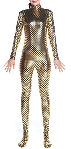 Seeksmile-Unisex-Mermaid-Printed-Metallic-Lycra-Zentai-Hoodless-Catsuit