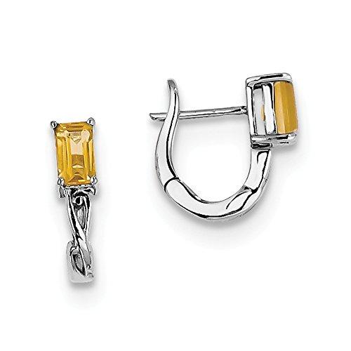 Sterling Silver Simulated Citrine Hinged Hoop Earrings (Approximate Measurements 12mm x 11mm)