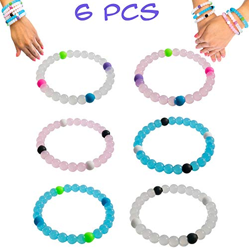 - Bracelets for Kids Girls Boys Teens 6 PCs Pack - Clear Silicone Beaded Friendship Fortune Bracelet Set - Party Favors and Camp Gifts for Teenage Boy or Girl - Great for Giveaways