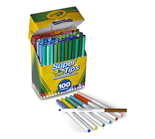 Crayola Super Tips Washable Markers, 100 Count, Bulk, Great for - Skins Hitech