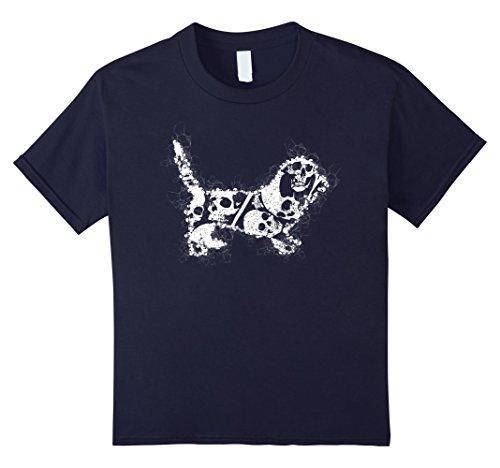 Costumes Normands (Kids Skeleton Skull Costume T-shirt For BASSET ARTESIEN NORMAND 12 Navy)