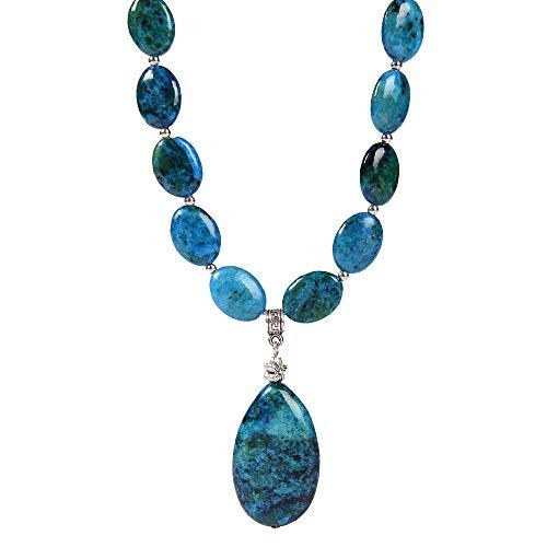 Ny6design Blue/Green Natural Chrysocolla & Pendant Long Necklace 18