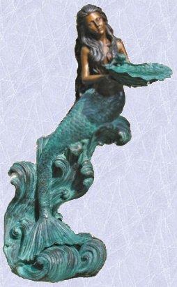 Megan the mermaid statue fountain pond garden sculpture