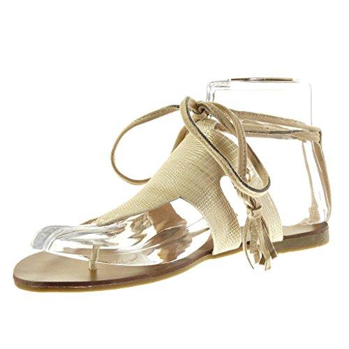 Zapatos beige de punta abierta formales Angkorly para mujer LOyAnpmRu