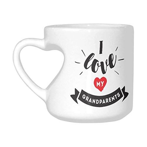 InterestPrint I Love My Grandparents Heart-shaped Coffee Travel Mug Cup, Great Grandparents Ever Ceramic Funny Gift for Women Men, 10.3 Ounce