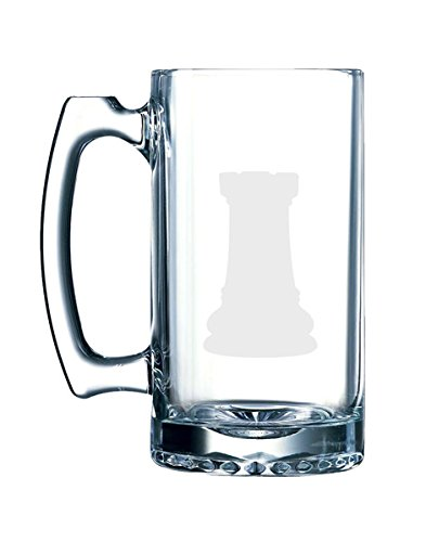 - Chess Icon Champion - Rook Piece Silhouette Shadow - 26.5 Ounce Glass Mug Stein