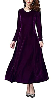 Urban CoCo Women's Elegant Long Sleeve Ruched Velvet Stretchy Long Dress