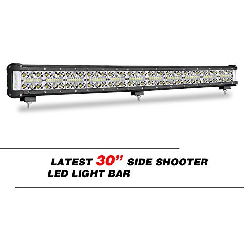 30 Inch Side Shooter LED Light Bar, Wayup Quad Row 420W LED Work Light Off Road Light Spot Flood Combo Beam Driving Light Fog Light for Truck JEEP Wrangler ATV UTV Boat, 2 Years Warranty