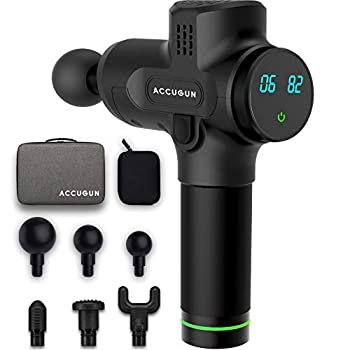 Image of Accugun Portable Massage Gun | 6 Speeds | Quiet, Percussion, Handheld & Cordless Device | Athlete Recovery, Muscle Soreness, Back, Body & Foot Stiffness, Deep Tissue Therapy Relaxation | Flyby Design