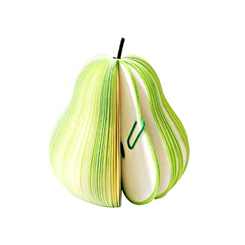Note Paper Cute Fruit Sticky Notes Memo Pads with Paper Clip Apple/Pear Shape Portable Scratch Papers Notepads Creative DIY Office Stationary Supplies Home/School Decorations (Green)