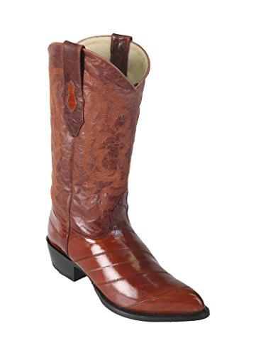 (Los Altos Men's J-Toe Cognac Genuine Leather EEL Skin Western Boots)