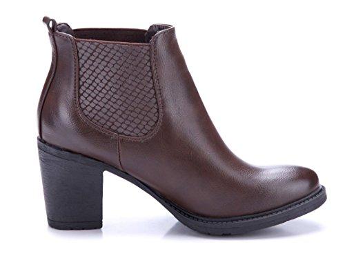 Schuhtempel24 Damen Schuhe Klassische Stiefeletten Stiefel Boots Blockabsatz 7 cm Braun