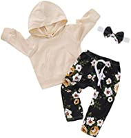 Baby Girl Clothes Kids Fall Outfits Ruffle Romper Floral Pants Bowknot Baby Girls' Clothing Set