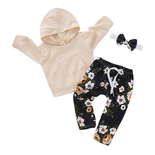 f0d4635eb Newborn Baby Girls Long Sleeve 3Pcs Sets Hoodie Top   Floral Print ...