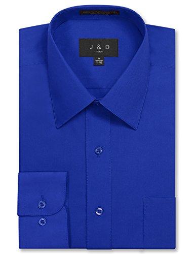 JD Apparel Men's Long Sleeve Regular Fit Solid Dress Shirt 19-19.5 N : 34-35 S Royal Blue