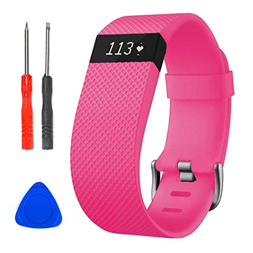Sophili Bands Compatible for Charge Hr, Silicone Replacement Small Large with Metal Buckle Fitness Wristband Strap for Fitbit Charge HR / HR1(Pink/S)