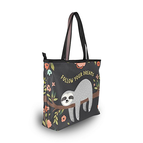Sloth Shoulder Dreams MyDaily Large Handbag Follow Women Tote Your Bag nFnICq