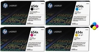 HP 654A & 654X Black, Cyan, Magenta & Yellow LaserJet Toner Cartridges (CF330X, CF331A, CF332A, CF333A)