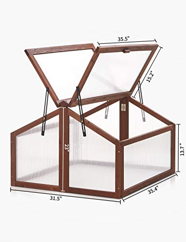 Cold Frame Greenhouse Kealive Portable Wooden Cold Frame Kit, Planter Bed Protection Outdoor with Double Adjustable Cover, Natural, 35.4L x 31.5W x 23H