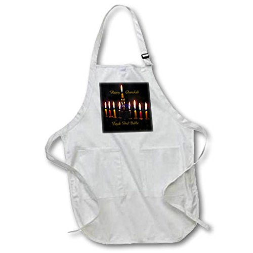Cat Menorah (3dRose Chanukah for Special People - Image of Happy Chanukah Zeyde and Bubbe With Menorah - Full Length Apron with Pockets 22w x 30l (apr_262569_1))