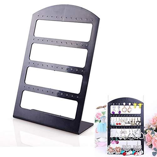 Earring Display Stand Organiser,2 PCS Black Plastic Jewelry Organizer Stand Pesentoir Fashion Earrings Display Rack Etagere,48 Holes ()