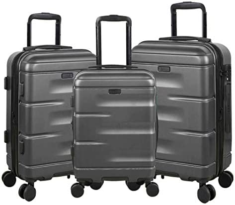 POD Travel Horizon 3-Piece Hardside Spinner Luggage Set with TSA Lock CHARCOAL