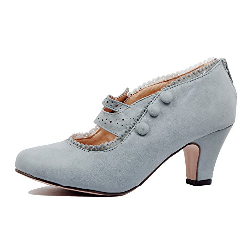 Guilty Shoes - Womens Classic Retro Two Tone Embroidery - Wing Tip Lace Up Kitten Heel Oxford Pumps (10 B(M) US, Greyv2 Pu) by Guilty Shoes (Image #1)