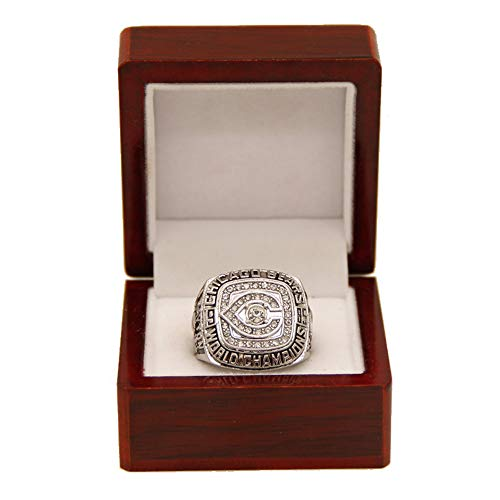 Gloral HIF Chicago Bears Championship Ring Super Bowl XX 1985 Ring sz 11 William Perry Silver with Display Wooden Box