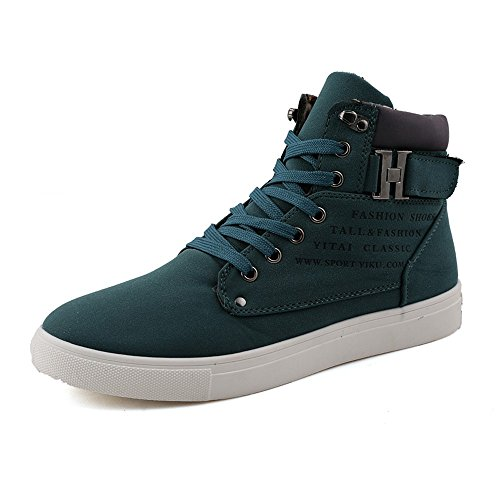 ZhaoDao158 Mens Casual Canvas Shoes Spring Autumn Buckle Breathable Ankle Boots Flats Green