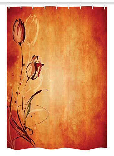 Ambesonne Antique Stall Shower Curtain Vintage Aged Background With The Silhouette Of Rose Bloom Digital Image Fabric Bathroom Decor Set Hooks 54 W