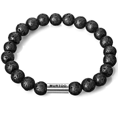 murtoo Essential Oil Bracelet Adjustable Beads Bracelet Lava Rock Stone Bracelet Perfume Diffuser Bracelet, 7''-9'' Gift (Lava Rock Bead Big Elastic)