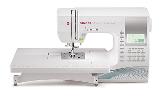 SINGER Quantum Stylist 9960 Computerized Portable Sewing Machine with 600-Stitches Electronic Auto Pilot Mode, Extension Table and Bonus Accessories, Perfect for Customizing Projects ()