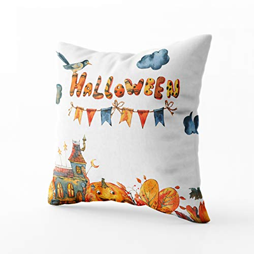 (GROOTEY Square Pillowcase with Zip for Easter Couch Sofa Décor Watercolor Halloween Black Old House Pumpkin Traditional Elements Isolated White Background 16X16Inch Throw Pillow Covers)
