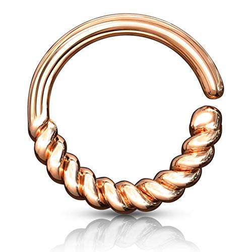 Half Circle Braided Bendable Hoop Ring Cartilage/Ear/Septum Piercing Jewelry 16 Gauge (Rose Goldtone Brass) (Best Piercing For Migraines)