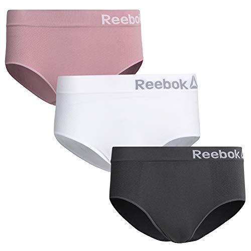 Reebok Women High Waist Nylon/Spandex Seamless Brief Underwear (3 Pack), Grey/White/Pink, Size Small'