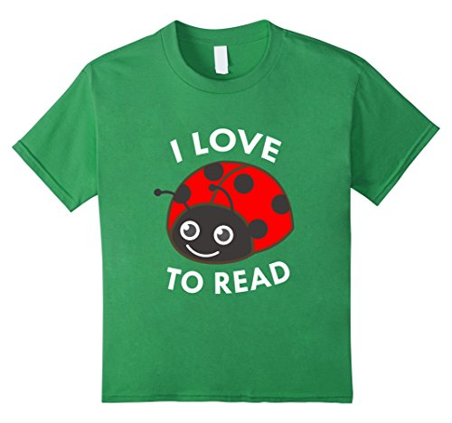 Kids I Love To Read Ladybug T-Shirt Book Lover Bookworm 6...