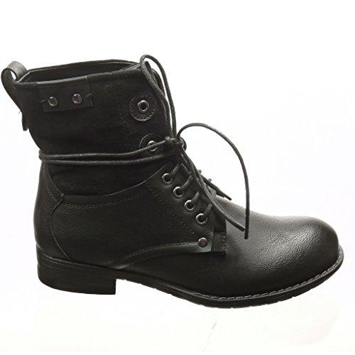 Angkorly - Zapatillas de Moda Botines botas militares mujer cordones tachonado Talón Tacón ancho 3 CM - plantilla Forrada de Piel - Negro