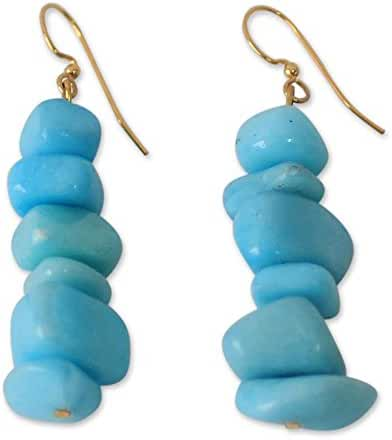 NOVICA Agate Brass Beaded Earrings 'Turquoise Towers'