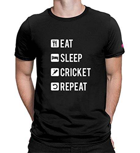 PrintOctopus Graphic Printed T-Shirt for Men & Women | Cricket T-Shirt | Eat Sleep Cricket Repeat T-Shirt | Half Sleeve T-Shirt | Round Neck T Shirt | 100% Cotton T-Shirt | Short Sleeve T Shirt