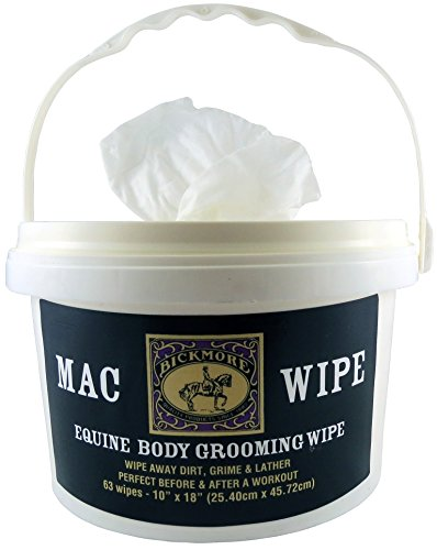 Bickmore Mac Wipes, 63 Count - Equine Body Grooming and Cleaning Wipe For Horses and Other Non-Self Grooming Animals - Ideal For Quick Cleanings Between Workouts Or Just Before Competition by Bickmore