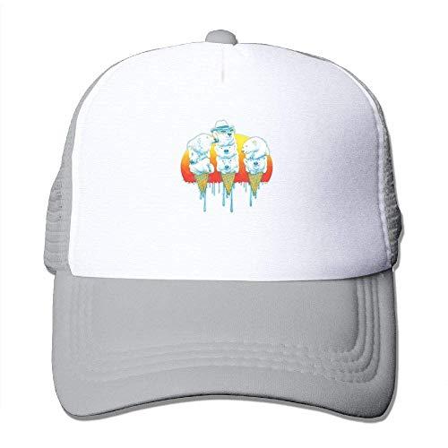 (Trucker Mesh Hat Baseball Caps Polar Bear Adjustable Snapback Hats Ash)