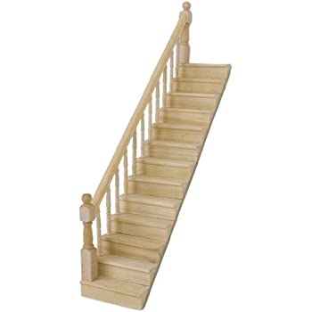 Lowpricenice 1:12 Dollhouse Pre Assembled Staircase Wooden Stair Stringer  Step With Left Handrail