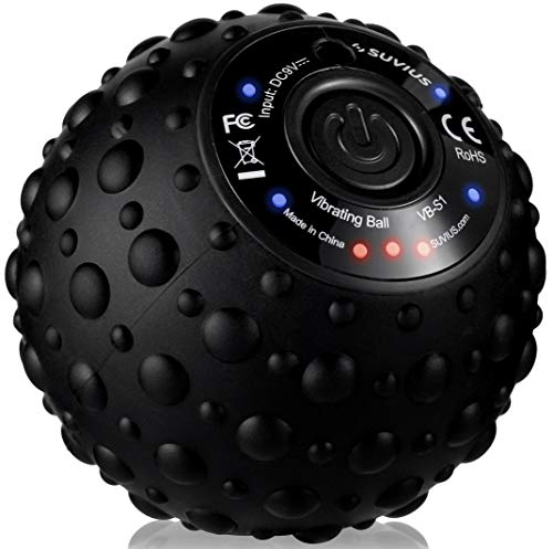 SUVIUS Ball Electric Vibrating Rechargeable Foam Roller - 4 Intensity Levels for Firm Battery-Powered Deep Tissue Recovery, Training, Massage - Therapeutic Back and Muscle Massage Roller (Black)