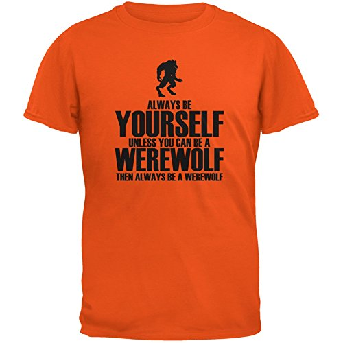 Halloween Always Be Yourself Werewolf Orange Youth T-Shirt - Youth Small (Werewolf Outfits Halloween)