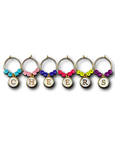 Wine Glass Charms, CHEERS Themed Drink Markers, Gift Set of 6