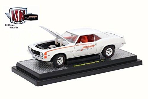 Castline M2 1969 Chevy Camaro SS 396, Pearl White/Orange 40300/56A - 1/24 Scale Diecast Model Toy Car (Ss White Pearl)