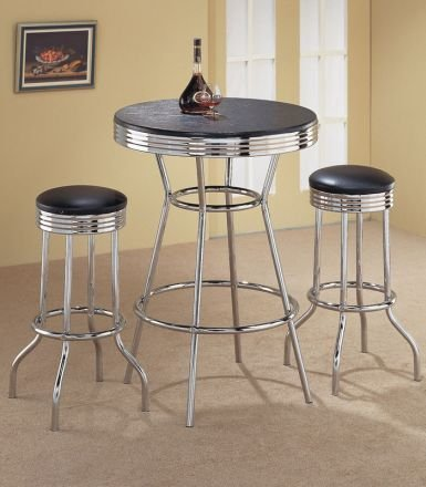 3pcs-Retro-Fountain-Style-Black-Chrome-Finish-Bar-Table-2-Stool-Set
