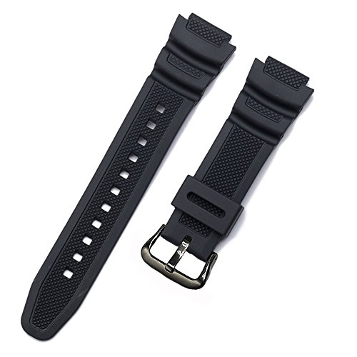 Replacement Watch Band 18mm Black Resin Strap for Casio AE-1000w AQ-S810W SGW-400H/SGW-300H (Strap Black Resin)
