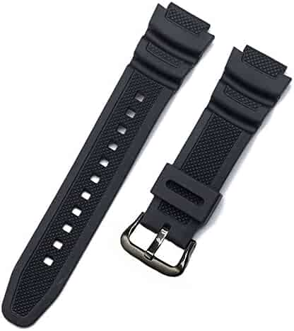 Replacement Watch Band 18mm Black Resin Strap for Casio AE-1000w AQ-S810W SGW-400H/SGW-300H