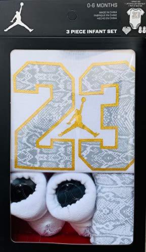(Jordan or Nike 3 Pieces Newborn Girl Gift Box (0-6 Months, White/Gold))